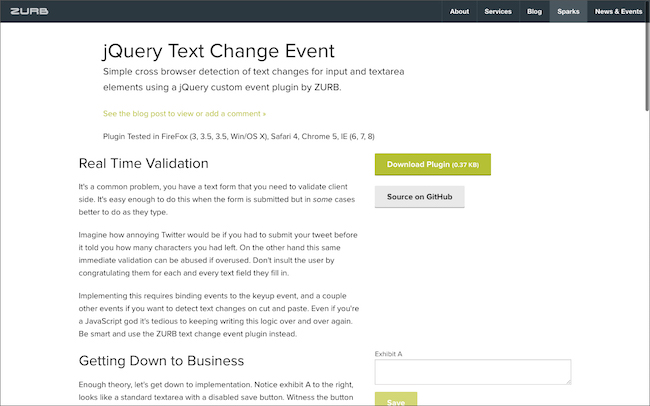 jQuery Text Events | Playground from ZURB
