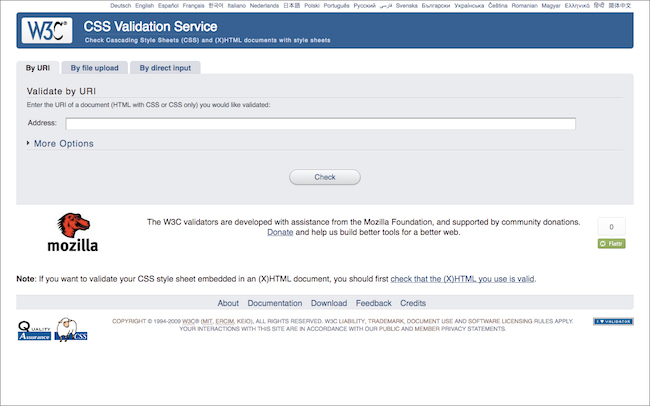 The W3C CSS Validation Service