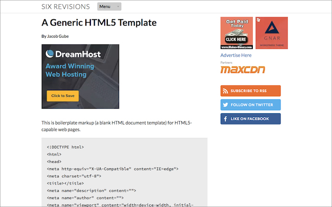A Generic HTML5 Template