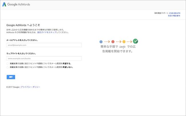 メールアドレスとWebサイトのURLを入力