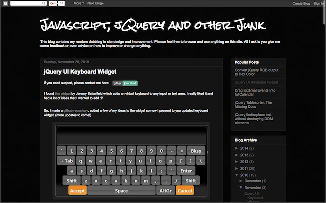 jQuery UI Keyboard  Widget